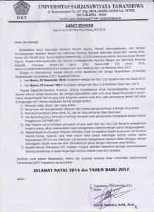 SURAT EDARAN REKTOR UST  LIBUR DAN CUTI BERSAMA NATAL 2016 DAN TAHUN BARU 2017