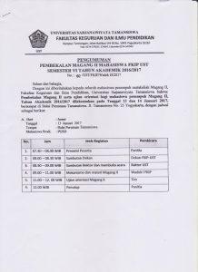 Jadwal Pembekalan Magang II
